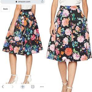 Eliza J Black Floral Pleated Skirt